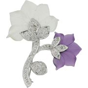 Vintage 18k Solid White Gold .50ctw Diamond Glass Flower Brooch Pin