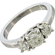 14k White Gold .52ct Three Stone Diamond Engagement EGL Certified Ring