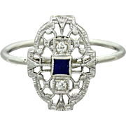 1930s Vintage Art Deco 14k Solid White Gold Diamond Sapphire Filigree Ring