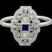 1930s Vintage Art Deco 14k Solid White Gold Diamond Sapphire Filigree Ring