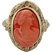 14k Solid Yellow Gold Red Coral Lady Cameo Cocktail Ring