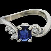 14k White Gold Sapphire Diamond Swirl Engagement Ring
