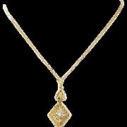 1920s Vintage Art Deco 14k Solid Yellow Gold Diamond Filigree Pendant Necklace