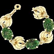 Vintage 14k Yellow Gold Oval Carved Green Jade Bracelet