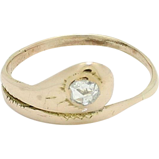 1850s Women's Antique Victorian Solid 14K Yellow Gold .20ct Diamond Snake Ring