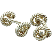 Hermes Men's 925 Solid Silver Cable Rope Twisted Knot Cufflinks