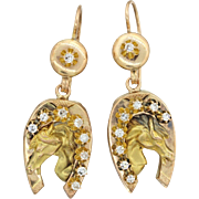 1880s Antique Victorian 14k Yellow Gold .54ctw Diamond Horseshoe Equestrian Earrings