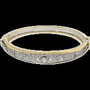 1930s Vintage Art Deco 14k Yellow White Gold .85ctw Diamond Bangle Bracelet