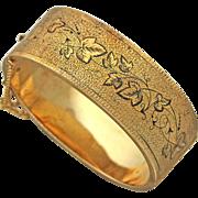 1870s Antique Victorian 14k Rose Gold Floral Enamel Wide Bangle Bracelet