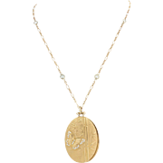 Barry Kronen 18k Yellow Gold 2.45ctw White Sapphire Butterfly Pendant Necklace