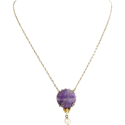 1880s Antique Victorian 14k Yellow Gold Pearl Purple Amethyst Pendant Necklace