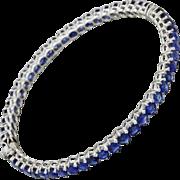 1930s Vintage Art Deco 18k Solid White Gold 9.10ctw Blue Sapphire Bracelet