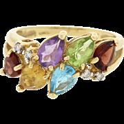1970s Vintage 14k Yellow Gold Citrine Topaz Amethyst Garnet Peridot Diamond Ring