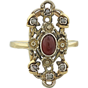 1880s Antique Victorian Estate 14k Yellow Gold Silver Garnet Pearl Flower Ring