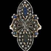 1860s Antique Victorian Platinum 14k Solid Gold 1.30ctw Sapphire Diamond Ring