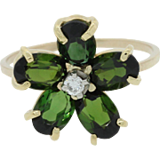 14k Yellow Gold 1ctw Green Tourmaline Diamond Flower Ring MSRP $1000