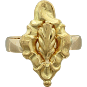 1880s Antique Victorian Estate 18k Solid Yellow Gold Engraved Statement Ring