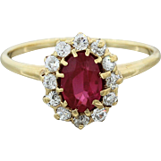 14k Solid Yellow Gold Ruby Diamond Engagement Ring