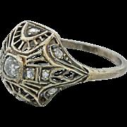 1930s Vintage Art Deco 10k Solid White Gold .25ct Diamond Filigree Ring