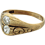 1880s Antique Victorian 10k Solid Yellow Gold .50ctw Diamond Toi et Moi Ring
