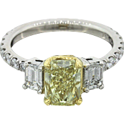 Platinum 18k Yellow Gold 3.11ctw Fancy Yellow Diamond Ring GIA