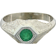 1930s Vintage Art Deco 14k Solid White Gold .50ct Emerald Pyramid Ring