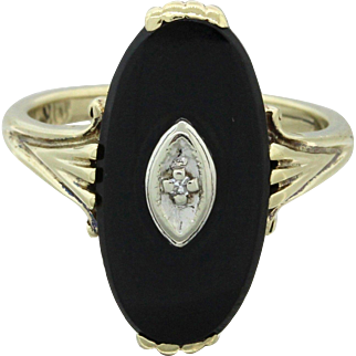 1880s Antique Victorian Estate 14k Solid Yellow Gold Onyx .01ct Diamond Ring