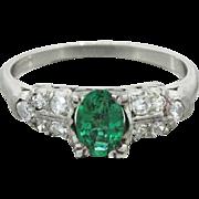 Vintage Art Deco Platinum .60ct Emerald .30ctw Diamond Band Ring