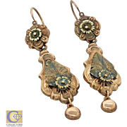 1880s Antique Victorian 14k Solid Rose Gold Flower Leaf Hanging Dangle Earrings