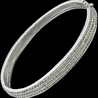 Vintage Estate 14k Solid White Gold 1.94ctw Diamond Bangle Bracelet 12.1g