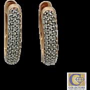 Estate 14k Solid Rose Gold .88ctw Diamond 4mm Earrings