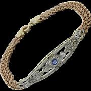 1920s Antique Art Deco 14k Yellow Gold Platinum Sapphire Diamond Bracelet