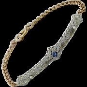 Vintage Art Deco 14k Yellow Gold Platinum Pearl  Diamond Filigree Bracelet
