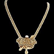 1920s Antique Art Deco 14k Solid Gold .10ct Diamond Crown Pendant Necklace