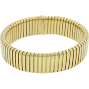 Weingrill 18k Solid Yellow Gold Flexible 14mm Band Bracelet