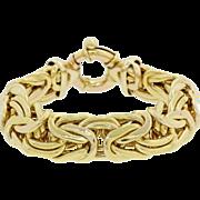 Byzantine Weave 14k Solid Yellow Gold Wide Chain Bracelet 88.7g