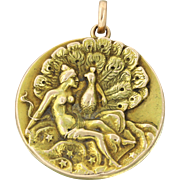 1910s Vintage Art Deco Nouveau 10k Solid Yellow Gold Peacock Locket Necklace Pendant