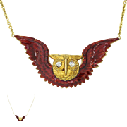 1920s Vintage Art Deco 14k Solid Yellow Gold Diamond Bird Owl Pendant Necklace