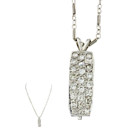 Vintage Estate 14k Solid White Gold .84ctw Diamond Cluster Pendant Necklace