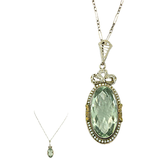 1920s Vintage Art Deco 10k Gold Seed Pearl Green Amethyst Pendant Necklace