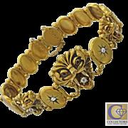1880s Antique Victorian 10k Yellow Gold Ruby .44ctw Diamond Lion Bracelet