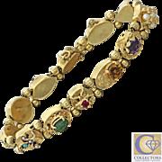 1940s Vintage 14k Solid Gold Mixed Gemstones Slide Charm Bracelet