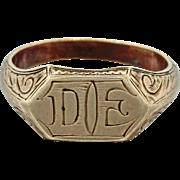 1880s Antique Victorian Men's Women's 14k Solid Yellow Gold D E Signet Ring