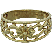 Vintage Turkey 14k Solid Yellow Gold Filigree Flower Band Ring