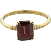 1930s Vintage Art Deco Estate 10k Solid Yellow Gold 1.35ct Garnet Ring