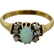 1880s Antique Victorian 14k Solid Yellow Gold Opal .30ctw Diamond Ring