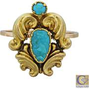 1890s Antique Victorian Estate 18k Solid Yellow Gold Engraved Turquoise Ring