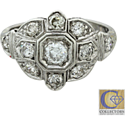 1920s Vintage Art Deco Estate Solid Platinum .50ctw FG Diamond Cluster Ring