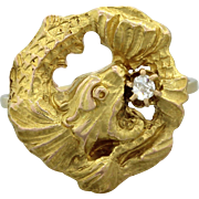 1890s Antique Victorian 14k Solid Gold .05ct Old Mine Diamond Dragon Fish Ring