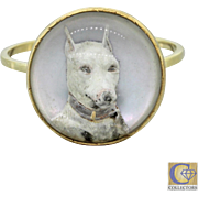 1890s Antique Victorian 18k Solid Gold Essex Glass English Bull Terrier Dog Ring